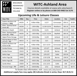 Upcoming Life and Leisure Classes