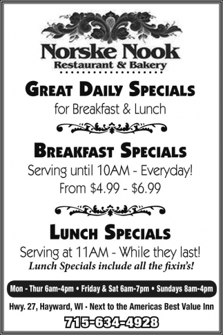 Daily Specials / Breakfast Specials / Lunch Specials