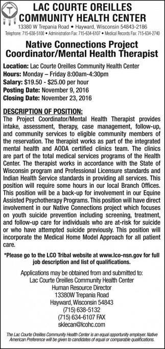 Native Connections Project Coordinator Mental Health Therapist