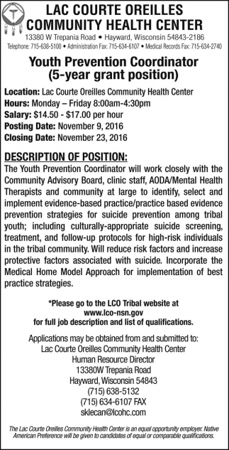 Youth Prevention Coordinator (5 year grant position)