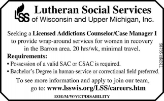 Licensed Addictions Counselor / Case Manager I