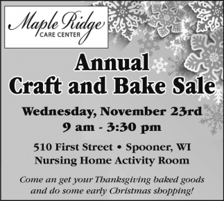 Annual Craft and Bake Sale