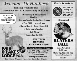 Welcome All Hunters!