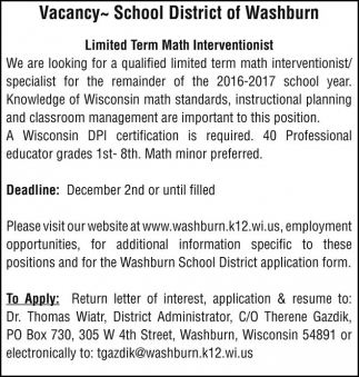 Limited Term Math Interventionist