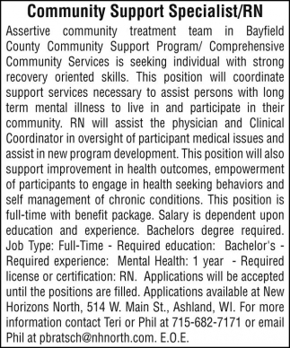 Community Support Specialist =RN