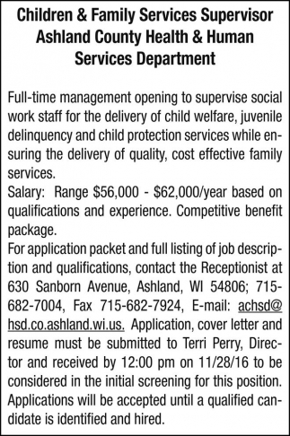 Children and Family Services Supervisor