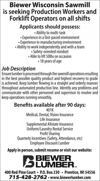 Production Workers and Forklift Operator
