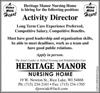 activity director heritage manor nursing home rice lake wi
