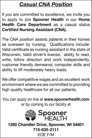 Casual CNA Position