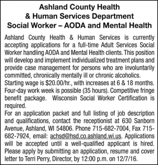 Social Worker - AODA and Mental Health