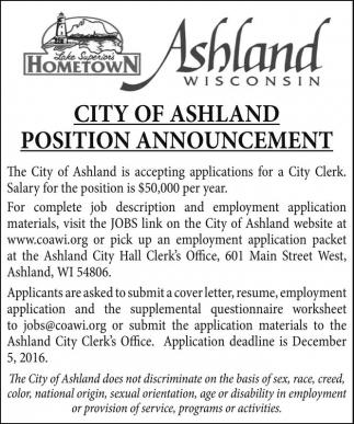 Position Announcement