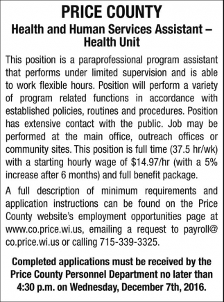 Health and Human Services Assistant - Health Unit