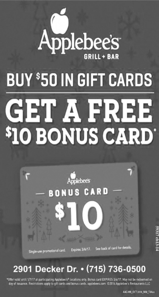 Buy $50 in gift cards get a free $10 bonus card