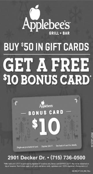 Buy $50 in gift cards get a free $10 bonus card