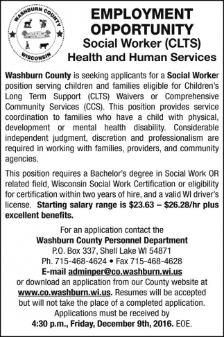 Social Worker (CLTS) Health and Human Services, Washburn County ...