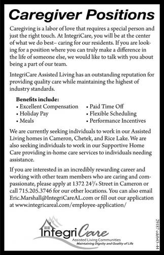 Caregiver Positions