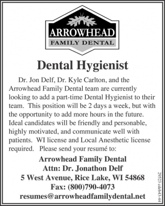 Ads For Arrowhead Family Dental In Rice Lake WI