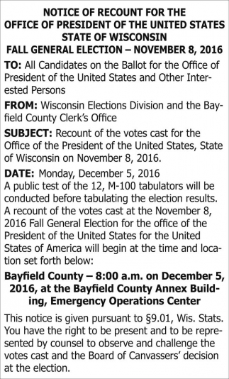 Notice of Recount for the office of president of the united states