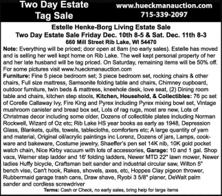 Two Day Estate Tag Sale