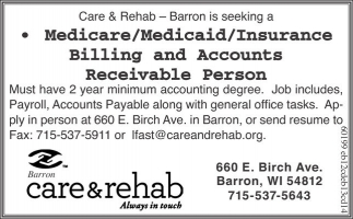 Medicare/Medicaid/Insurance Billing and Accounts