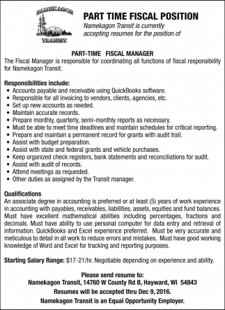 Part Time Fiscal Position