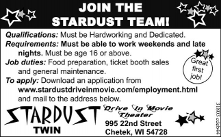 JOIN THE STARDUST TEAM!