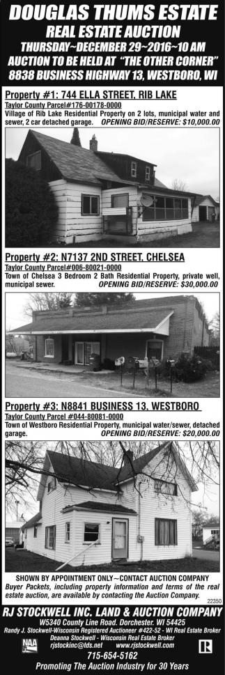 Douglas Thums Estate Real Estate Auction