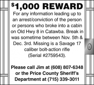 $1,000 Reward