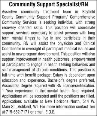 Community Support Specialist/RN