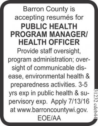 PUBLIC HEALTH PROGRAM MANAGER / HEALTH OFFICER