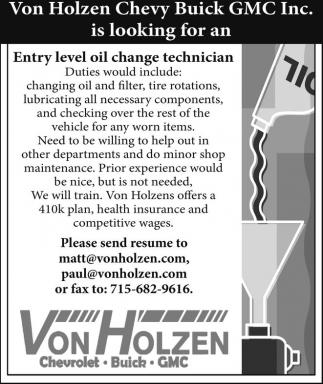 Entry level oil change technician