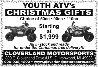 Youth ATV's Christmas Gifts