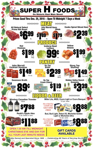 Prices Good Thru Dec. 25, 2016
