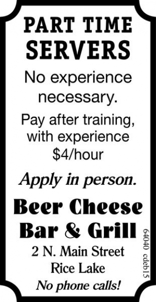 Part Time Servers