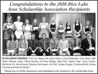 Rice Lake Area Scholarship Association Recipients