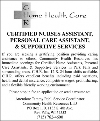 CNA, Personal Care Assistant & Supportive Services