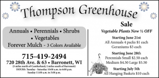 Annuals - Perennials - Shrubs - Vegetables