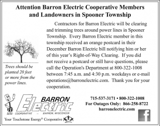 Attention Barron Electric Coop. Members and Landowners in Spooner