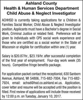 Child Abuse U0026 Neglect Investigator, Ashland County Health And Human  Services Department, Ashland, WI