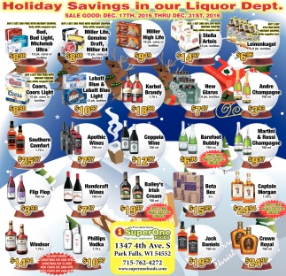 Holiday Savings in our Liquor Dept.